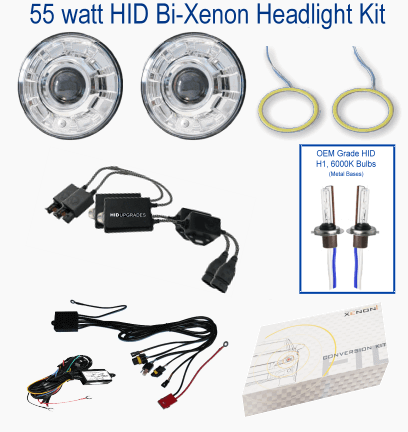 "7"" round HID HID-Bi-Xenon-Headlight-kit"